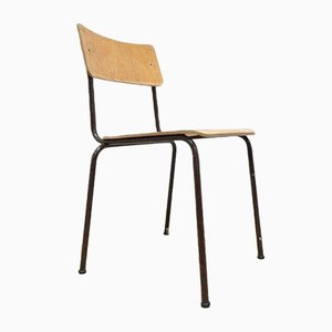 Teak Ply Metal Industrial Stacking Lab Chairs, 1960s, Set of 10