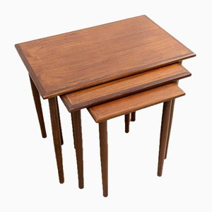 Mid-Century Danish Teak Nesting Tables by Poul Hundevad for Fabian