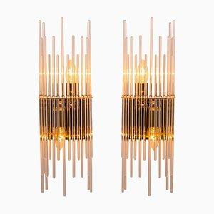 Glass Rod Waterfall Sconces by Gaetano Sciolari for Lightolier, 1970s, Set of 2