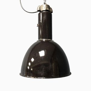 Bauhaus Black Enamel Factory Lamps, 1920s, Set of 2