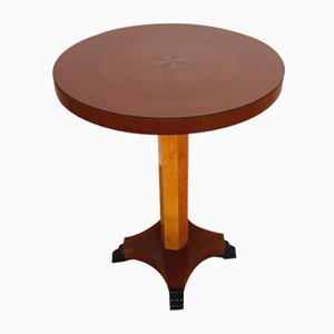 Art Deco Rosewood Side Table with Marquetry and Glass Plate