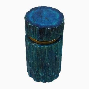 Vintage Italian Blue Alabaster Box, 1960s