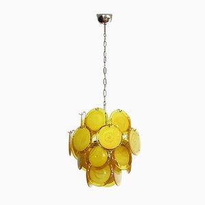 Lampada da soffitto vintage in vetro di Murano con 24 dischi gialli, Italia, 1979