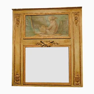 Antique Louis XVI French Gilded Mirror With Painting