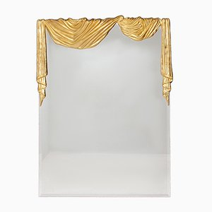 Hollywood Regency Bronze Drapery Wall Mirror, 1979