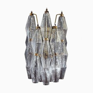 Vintage Italian Transparent Poliedri Murano Glass Sconces, 1979, Set of 2