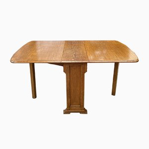 Light Oak Drop Leaf Dining Table, 1930s