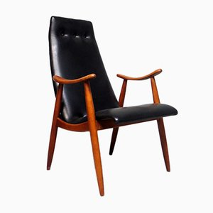 Mid-Century Black Leatherette Lounge Chair, 1950s