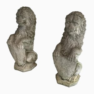 French Cement Lions Standing with a Shield, 1950s, Set of 2