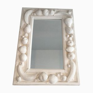 French Decorative Plaster Mirror with Fruits Decors, 1970s
