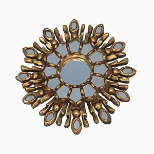 Italian Small Gilt Wood Sunburst Mirror, 1970s