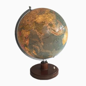 German Illuminating Globe made of Paper on Plastic, Metal & Wood, 1950s