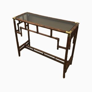 French Bamboo Console Table with Brass Corners and Smoked Glass Shelf, 1970s