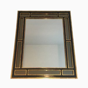 French Polychrome and Gilt Wood Rectangular Mirror, 1970s