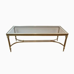 French Neoclassical Style Brass Coffee Table with Clear Glass Shelf Surrounded by a Silvered Mirror, 1970s