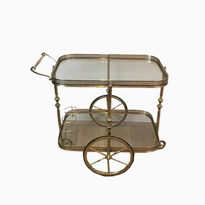 French Neoclassical Brass Drinks Trolley in the Style of Maison Jansen, 1940s
