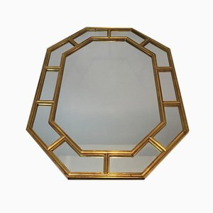 French Octagon Gilt Resin Mirror, 1970s