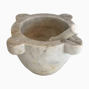 18th Century White Marble Mortar with Pestle