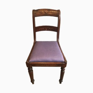 19th Century French Charles the Xth Rosewood and Lemon Tree Side Chairs Attributed to Jeanselme, Set of 2