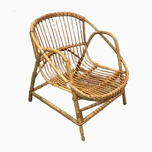 French Decorative Rattan Armchairs, 1970s, Set of 2