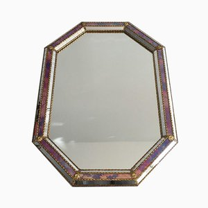 French Octagon Mirror in Brass Garlands and Flowers & Mirror Faceted, 1970s