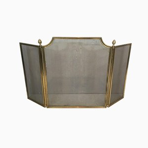 French Neoclassical Style Brass Fireplace Screen, 1940s