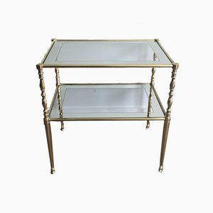 French Brass Side Tables with Clear Glass Shelves Surrounded by a Silvered Mirror, 1970s, Set of 2