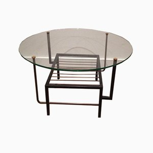French Black Lacquered Metal and Brass Small Coffee Table with Round Glass Top in the Style of Mathieu Matégot, 1970s