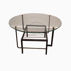 Petite Table Basse en Laiton et Métal Laqué Noir avec Plateau Rond en Verre dans le Style de Mathieu Matégot, France, 1970s