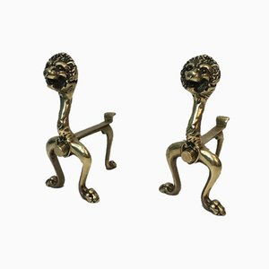 French Bronze Lion Andirons, 1900s, Set of 2