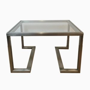 French Brushed Steel Side Tables, 1970s, Set of 2