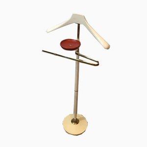 Weiß lackierter italienischer Stummer Diener aus Holz, vergoldetem Metall & Messing, 1970er