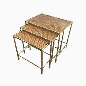 Tables Gigognes Faux-Bambou en Laiton avec Etagères en Acajou et Lucite Incrustées dans le Style de Jacques Adnet et Gabriella Crespi, 1970s