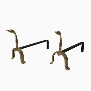 French Brass Duck Andirons in the Style of Maison Jansen, 1970s, Set of 2