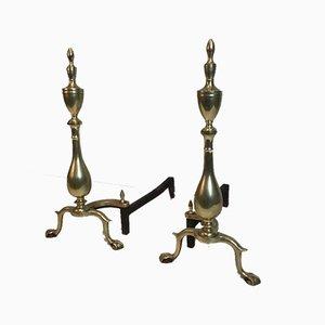 Französische Neugotische Bronze- und Schmiedeeisen-Kaminböcke, 19. Jh., 2er Set