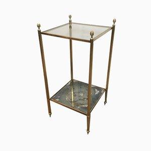 Tables d'Appoint en Laiton avec Miroir Bas Eglomise & Plateau en Verre Transparent par Maison Jansen, France, 1940s, Set de 2