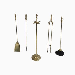 French Brass Fireplace Tools Set, 1970s