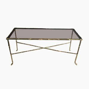 French Small Faux-Bamboo Bronze Coffee Table with Smoked Glass Shelf by Maison Bagués, 1940s