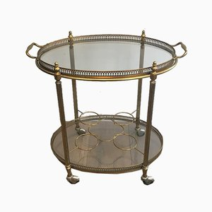 French Oval Brass Drinks Trolley with Removable Top Tray, 1950s