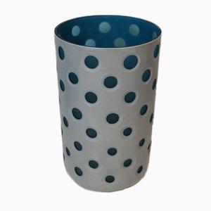 Vase Overlay en Verre, Italie, 1970s