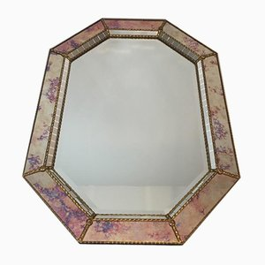 French Neoclassical Multi-Faceted Octagon Faux-Antique Mirror with Mirrors Mosaics, Brass Flowers and Garlands, 1970s
