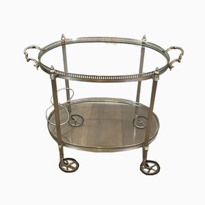 French Neoclassical Style Silvered Brass Drinks Trolley by Maison Jansen, 1940s