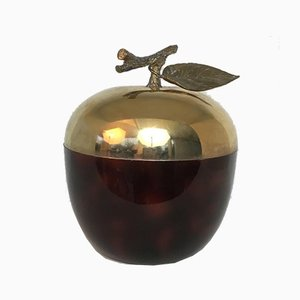 French Red Lucite, Gilt Metal & Plastic Apple Ice Bucket, 1970s