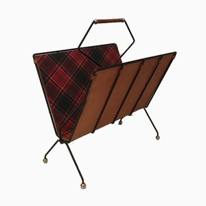 French Black Lacquered Metal, Leather & Square Fabric Magazine Rack, 1950s