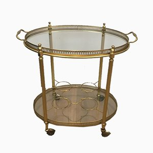 French Neoclassical Style Oval Brass Drinks Trolley, 1970s