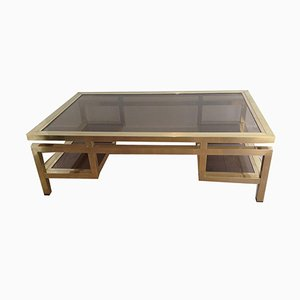French Brass Coffee Table with Smoked Glass Shelves by Guy Lefèvre, 1970s