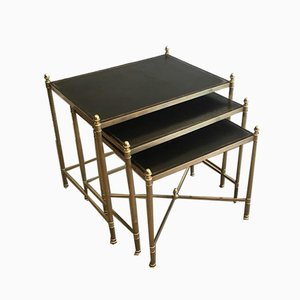 French Neoclassical Style Brass Nesting Tables with Black Leather Tops by Maison Jansen, 1940s