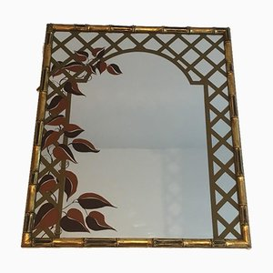 Decorative Faux-Bamboo Gilt Wood Mirror with Printed Floral Decor, 1970s