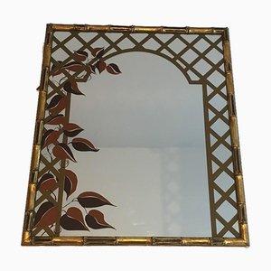 Miroir Décoratif en Faux Bambou et Bois Doré avec Décor Floral Imprimé, 1970s