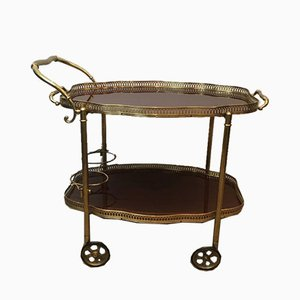French Neoclassical Style Brass and Mahogany Drinks Trolley with Removable Trays, 1940s